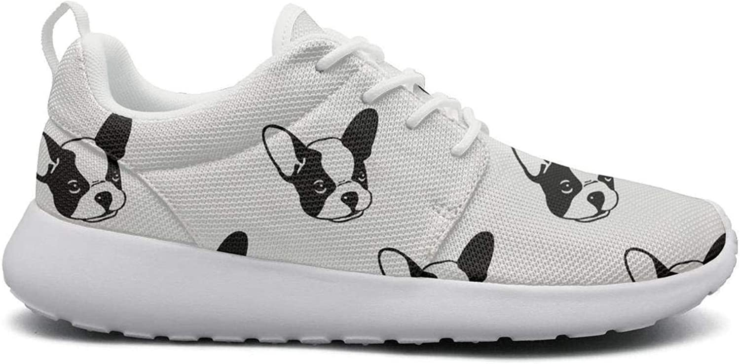 FEWW11 Women Cool Lightweight shoes Sneakers Bulldog Head Print Cozy Gym Lace-Up