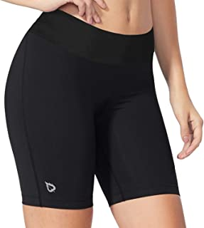 BALEAF Women's 7 Inches Long Compression Running Yoga Spandex Shorts Workout Back Pockets