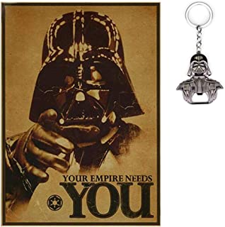 23Vision Star Wars Darth Vader R2D2 Yoda Wall Art Poster Print with Free Keychain (Your Empire Needs You)