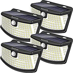 Aootek New solar lights 120 Leds upgraded with lights reflector,270° Wide Angle, IP65 Waterproof, Easy-to-Install Security Lights for Front Door, Yard, Garage, Deck(4pack)