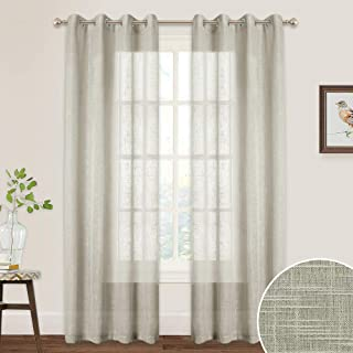Sheer Curtains 84 inches Long - Linen Texture Fabric Grommet Curtains Voile Privacy Light Filtering Shabby Chic Panels for Living Room Dining Arbor Patio Door, 52 Width x 84 Length, 2 Pcs, Taupe