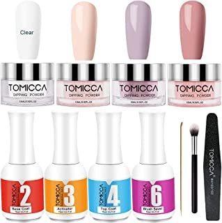 Dip Powder Nail Kit, Tomicca 4 Colors Dipping Powder Starter Kit, 0.5 oz, Dip Acrylic Powder, No Need UV/LED Lamp, Easy to Apply, Fast Dry Powder