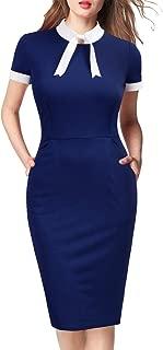 Womens Short Sleeve Colorblock Slim Bodycon Business Pencil Dress