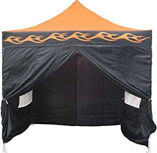 DELTA Canopies 10'x10' Ez Pop up Canopy Party Tent Instant Gazebo 100% Waterproof Top with 4 Removable Orange Flame - E Model