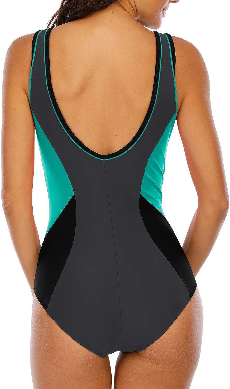 Halcurt Women Racerback One Piece Swimsuit Aerobics Bathing Suit Chlorine Proof