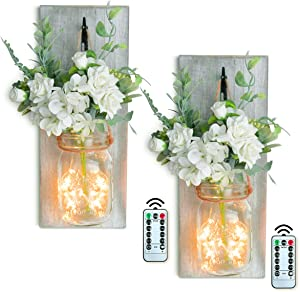 LadyRosian Pack of 2 Mason Jar Living Room Decor, Wall-Mounted House Decorations Living Room, Rustic Decor with Green Fake Plant Artificial Flowers and LED Strip Lights