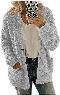 Women's Fall Winter Blouse Pocket Sherpa Lined Plus Size Duffle Coat