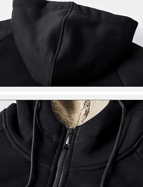 Haellun Men's Fleece Sherpa Lined Full Zip Up Hoodies Sweatshirt Jacket Outwear