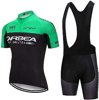 CHHBS Traje Equipacion Ciclismo Hombre Verano con 5D Acolchado De Gel,Traje Ciclismo Hombre Maillot Ciclismo + Pantalon Bicicleta para MTB Ciclista Bici