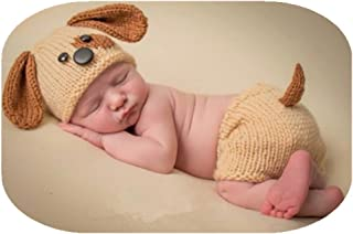 Newborn Baby Photography Props Boy Girl Photo Shoot Outfits Crochet Knitted Puppy Hat Shorts Photography Shoot