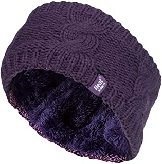 Womens Warm Fleece Lined Knit Thermal Winter Ear Warmer Headband
