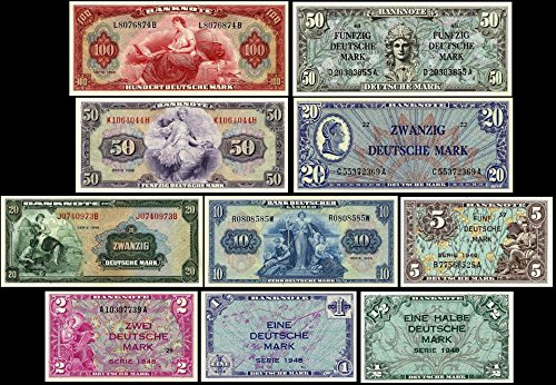*** 1/2, 1, 2, 5, 10, 20, 50, 100 Deutsche Mark Geldscheine BDL 1948 - P1 - P10 - Reproduktion ***