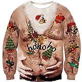 Loveternal Hässliche Weihnachtspullover Lustig 3D Druck Ugly Christmas Sweater Langarm Xmas Pullover Hairy Chest Jumper S