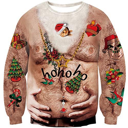 Loveternal Unisexo Gato Jersey de Navideño Feo 3D Ugly Christmas Sweater Manga Larga Cat Xmas Pullover L