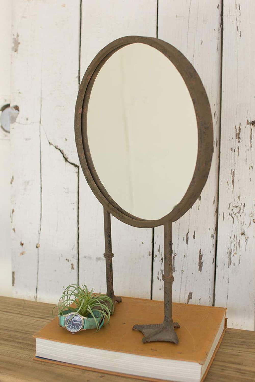 Kalalou CJS1110 Rond Table TOP Mirror with Duck FEET