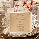 WISHMADE Square Ivory Laser Cut Wedding Invitations Cards with Lace Flower Pattern Invites for Birthday Baby Shower Dinner Wedding invites Cards (Pack of 50pcs)