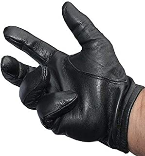 Soft Sheepskin Leather Shooting Driving Police Tactical Gloves - Black/Brown TW62