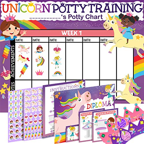 Potty Training Chart for Toddlers Girls, Unicorn Design - Sticker Chart, 4 Week Reward Chart - 213 Cute Stickers, Certificate, Instruction Booklet & Motivational Cards - Bonus Celebratory Crown