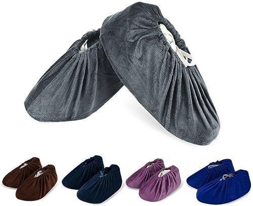 HOGAR AMO 5 Paires Surchaussures Tissu lavables Couvre Chaussure Réutilisables Antidérapant Chausson avec Flanelle po...
