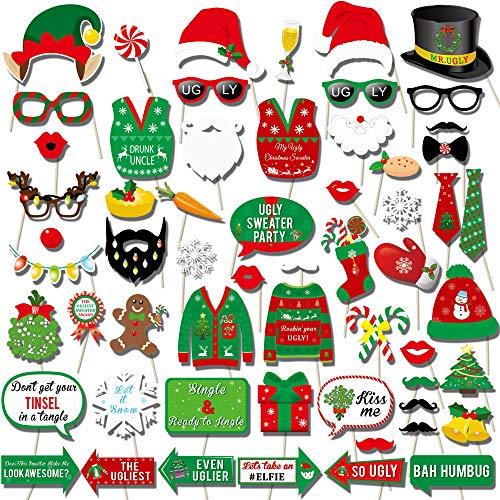 Howaf 59 Pcs Navidad DIY Photo Booth Props Cabina de Fotos Accesorios Photocall Divertido Foto Props - Gorros de Santa Gafas asta máscaras para Fiesta Navidad cumpleaños