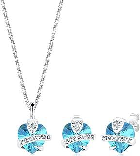 Elli Women 925 Sterling Silver Aquamarine Heart Swarovski® Crystals Jewelry Set