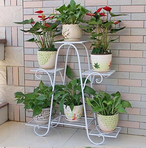 FZN Fer Multi-étages Flower Rack Radis Vert Laqué Balcon étagère de Fleurs Plancher Salon Plancher intérieur Pots de Fleurs (Couleur : #1, Taille : 83 * 25 * 83cm)