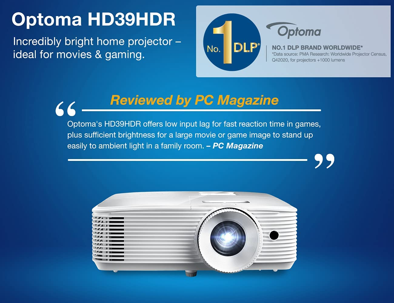 Optoma HD20HDR High Brightness HDR Home Theater Projector   20Hz Refresh  Rate   20 lumens   Fast 20.20ms Response time with 20Hz   Easy Setup with  ...