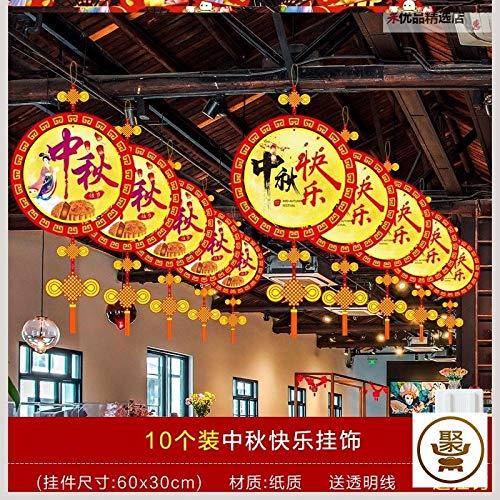 Hängendes Mittherbstfest Nationalfeiertag Laterne Balken Supermarkt Restaurant Dekoration Innen Hängende Hängende Dekoration Juweliergeschäft im chinesischen Stil-Runde Happy Mid-Autumn Festival Ornam