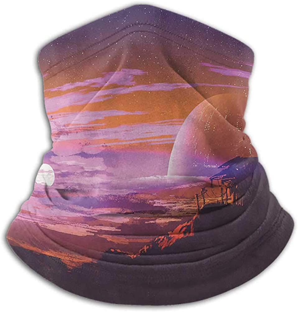 Neck Gaiters For Men Fantasy Art House Decor Cold Weather Face Cover Old Abandoned House on Planet with Galaxy Futuristic Design Orange Magenta