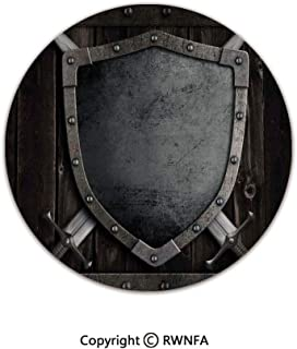 Quality Well Woven Barclay Round Area Rugs,Medieval Shield and Crossed Swords on Wood Gate Safety Security Military Theme Art 3' Diameter Grey Brown,for Kids Room Bedroom Kitchen