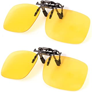 Clip on Polarized Night vision Glasses Flip up Anti reflective Anti Glare UV-400 Wear Over Glasses