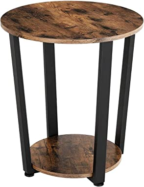 KingSo End Table Round 2-Tier Industrial Side Table with Storage Shelf Metal Frame Nightstand Easy Assembly & Sturdy Sofa Cof