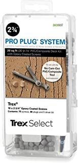 Pro Plug PVC Plugs and Epoxy Screws for Trex Pebble Grey Decking, 85 Plugs for 20 sq ft, 75 Epoxy Screws