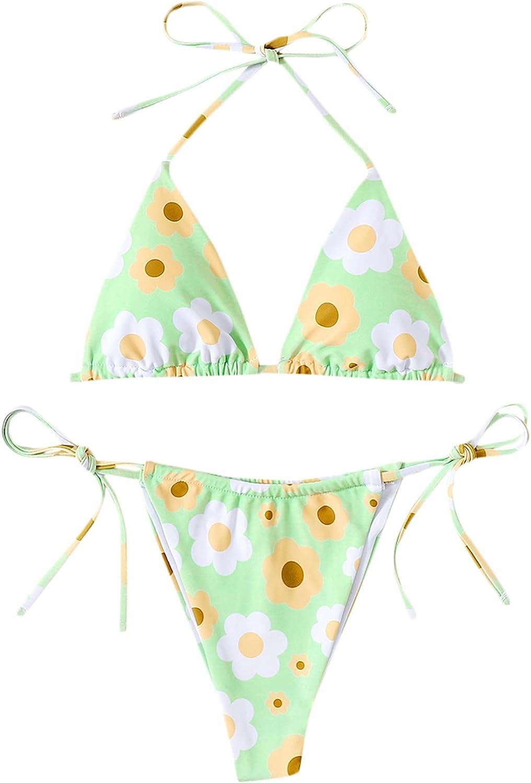 SweatyRocks Women's Halter Ditsy Floral Triangle Tie Side Bikini Swimsuit