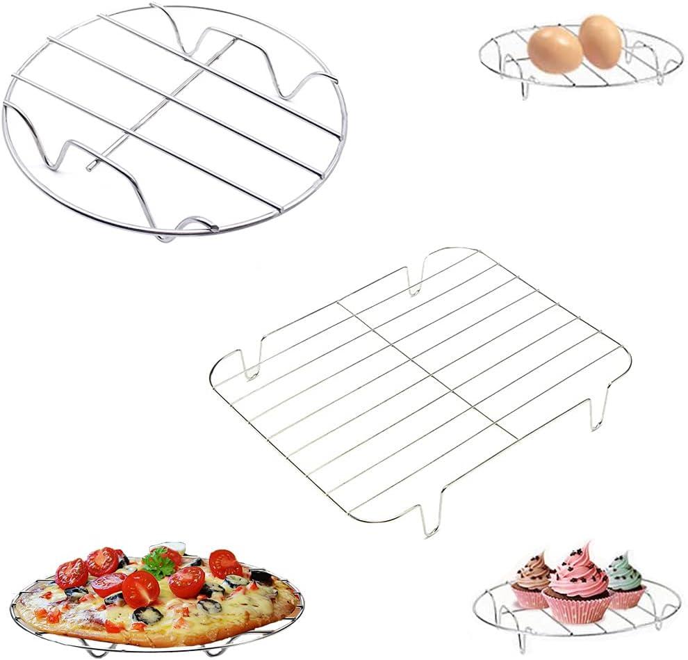 Cestas para huevos, rejilla refrigeradora, acero inoxidable, Soporte de Vapor de Ollas de Cocina, Se puede utilizar para cocinar huevos al vapor y enfriar alimentos, Cuadrado y redondo, 2 piezas