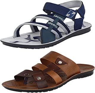 Bersache Men's Casual Combo Pack of 2 Canvas Multi-Color Sandal & Floater