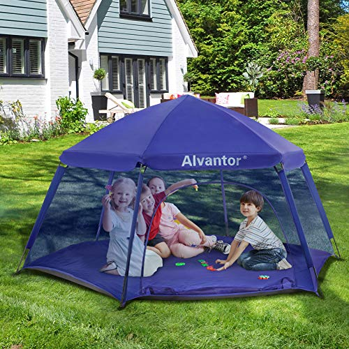Alvantor Kids Tents Pop Up Play Tent Indoor Outdoor Playhouse for Babies Toddlers Children Camping Playground Playpen Play Yard 7'x7'x44'H Navy Patent