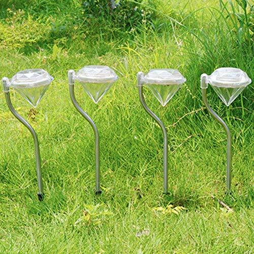 Juego de 4 lámparas solares LED para jardín, luces de jardín al aire libre, estaca de diamante, iluminación de paisaje, de acero inoxidable