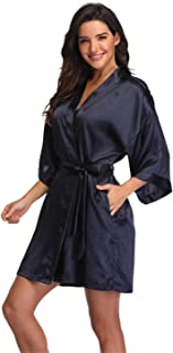 Women's Pure Short Silky Robes Bridesmaid Bride Party Satin Robes Sleepwear