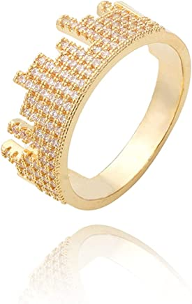 Epinki Ring for Women Girls Cubic Zirconia Crown Engagement Ring Promise Ring for Her