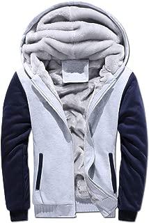 Losait Men Thicken Color Spell Velvet Plus with Zips Coat Jacket Hooded Sweatshirt