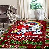 YHML Alfombra rectangular con diseño de unicornio de Santa Riding / Pequeña / 91,4 x 152,4 cm