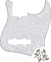 IKN 3ply 10 Bocinas JB Bass Standard Pickguard para Precision Jazz Bass estilo, con Tornillos, Blanco Perla
