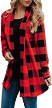 Buffalo Plaid Cardigans Long Sleeve Elbow Patch Draped Open Front Cardigan Women