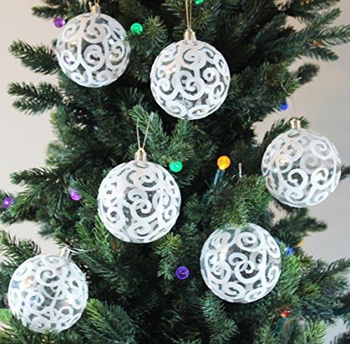 Sleetly 12pk 80mm Transparent Swirl Christmas Ball Ornaments White