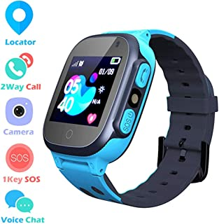 LDB Direct Kids Smart Watch Phone Watches Compatible with Android and iOS, Smartwatch with GPS/LBS Tracker SOS Call Touch Screen Voice Chat Flashlight for Kids 3-12 Year Old (Blue)