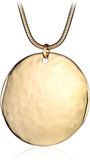 Round Pendant Necklace Silver Gold Plated Chain Costume Necklace for Women Girls with Gifts Box