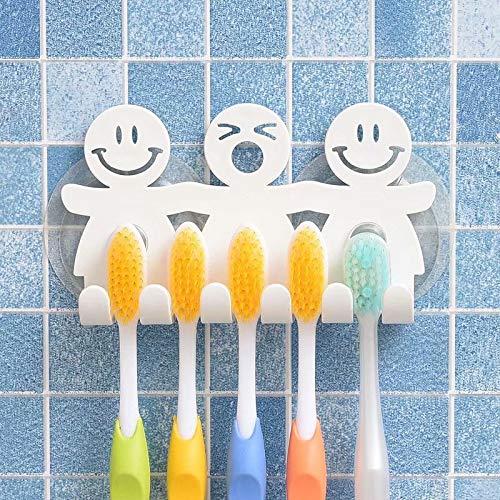 Niedlicher Zahnbürstenhalter mit Saugnapf für Badezimmer Wand Smile Face Emoji Home Decor