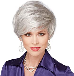 MIPPER Puffy Silver Gray Wig for White Women Temperament Short Wig for Middle-age Old Women Daily Costume Office