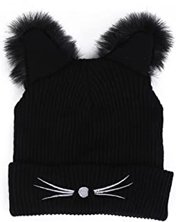 DongDong 2018 Fashion Hat, Lady's Cat Ear Embroidered Knitted Cap Black